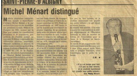 Michel Ménart distingué – Le Dauphiné Libéré Savoie – 2001